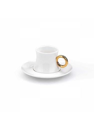 Korkmaz Freedom 6'Li Beyaz/Gold Kahve Fincan Takimi Beyaz